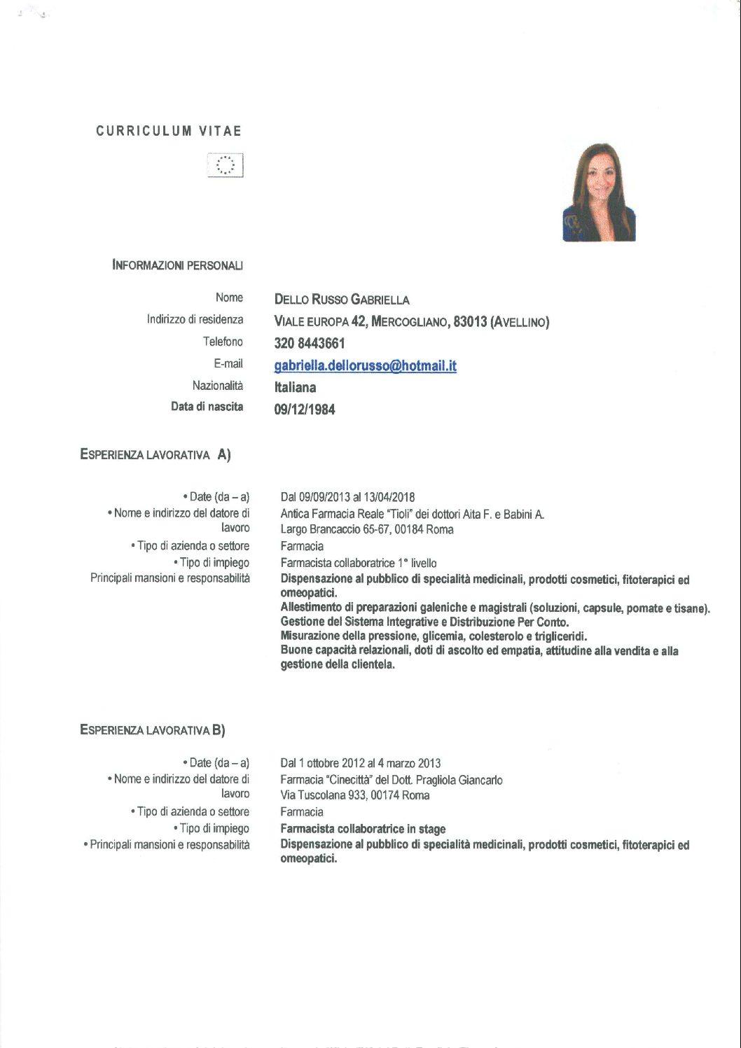 Curriculum Dra Dello Russo Ordine Dei Farmacisti Avellino